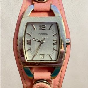 Fossil Pink Leather Cuff Watch